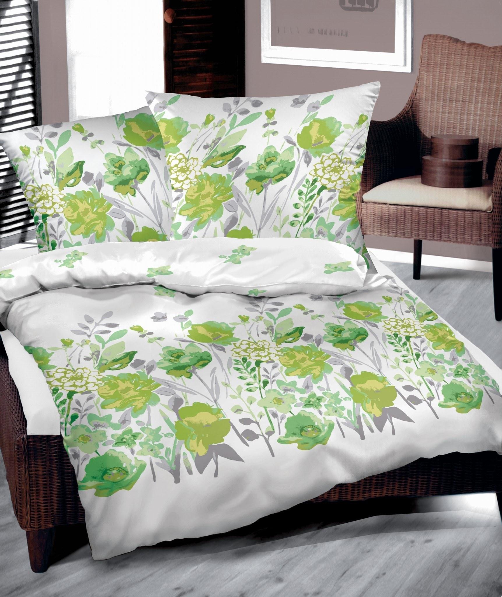 posciel bawelniana bielbaw 160x200 zielone kwiaty Pościel bawełniana Bielbaw 160x200 Zielone kwiaty